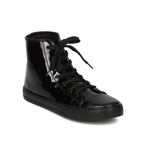 CAPPED TOE PATENT LEATHER HIGH TOP SNEAKERS
